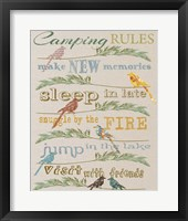 Framed Camping Rules  -  White
