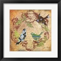Framed Pretty Birds In The Ferns - B