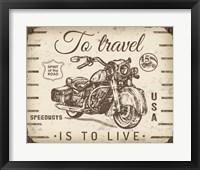 Framed Vintage Motorcycle Mancave - A