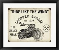 Framed Vintage Motorcycle Mancave - D