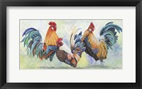 Framed Watercolor Rooster - E