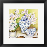 Framed Orchid with China Vases