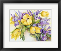 Framed Yellow Tulips with Blue Iris