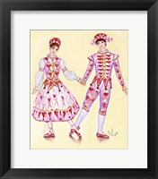 Framed Harlequin And Columbine Holding Hands
