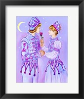 Framed Harlequin Giving A Rose