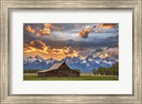 Framed Moulton Barn Sunset Fire