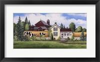 Framed House, Barn & Cows