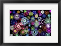 Framed Black And Rainbow Mandala Abstract