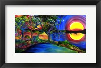 Framed Colorful Psychedelic Rainbow Lake Art