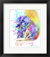 Framed Colorful Rainbow Kitten Reading