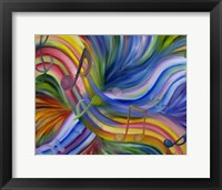 Framed Colorful Rainbow Music Notes