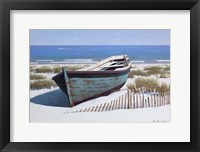 Framed Blue Boat on Beach