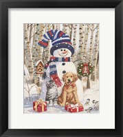 Framed Kitten and Puppy with Snowman