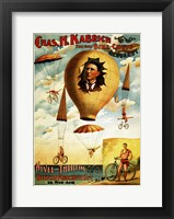 Framed Circus 1882 - Bicycle Parachute Act