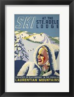 Framed Ski at the Ste. Adele Lodge