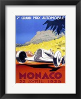Framed Prix Automobile Monaco 1935