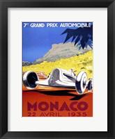Framed Prix Automobile Monaco 1935
