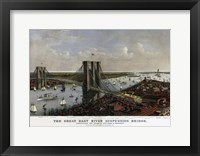 Framed Brooklyn Bridge By Currier and Ives 1885