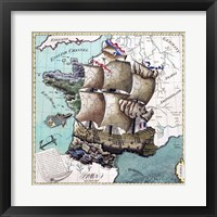 Framed Map Of France As A Ship -1796