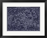 Framed 1920 Pocket Map of Paris Blueprint style