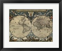 Framed Map of the World by Blaeu 1684