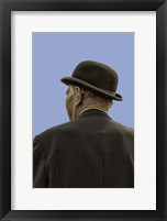 Framed Bowler Hat Man Blue