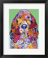 Framed Flowers Basset Hound