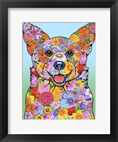 Framed Flowers Corgi