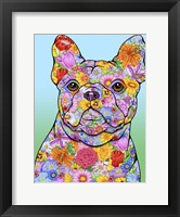 Framed Flowers French Bulldog