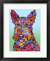 Framed Flowers Scottish Terrier