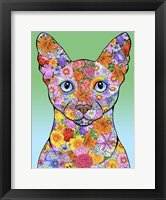 Framed Flowers Siamese Cat