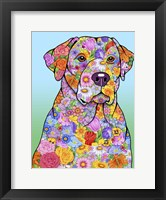 Framed Flowers Yellow Lab