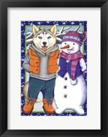 Framed Husky Snowman