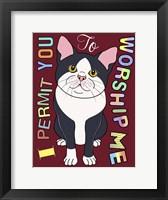 Framed Tuxedo Cat Graphic Style