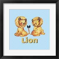 Framed Cute Baby Lions