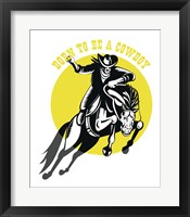 Framed Born to Be a Cowboy Horse n Rider