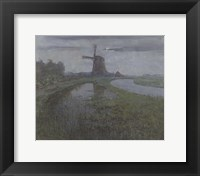 Framed Oostzijdse Mill Along the River Gein by Moonlight