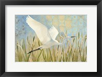 Framed Snowy Egret in Flight v2