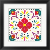 Framed Floral Fiesta White Tile XII