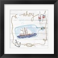 Framed Ship in a Bottle Ahoy Shiplap