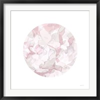 Framed Leafy Abstract Circle II Blush Gray