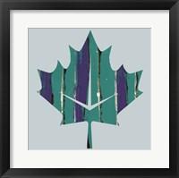 Framed Teal Maple Leaf