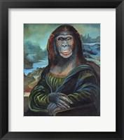 Framed Mona Monkey Lisa