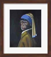 Framed Monkey with Pearl Earring