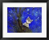 Framed Night Cat Blue