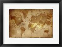 Framed Vintage World Map