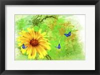 Framed Yellow Flower And Butterflies