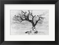 Framed Lone Wolf And Tree