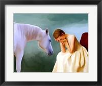 Framed Sad Girl And Horse