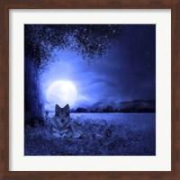 Framed Moon Night And Wolf